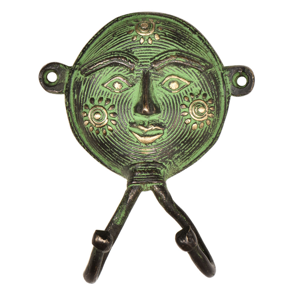 Tribal Woman Face Brass Metal Hooks