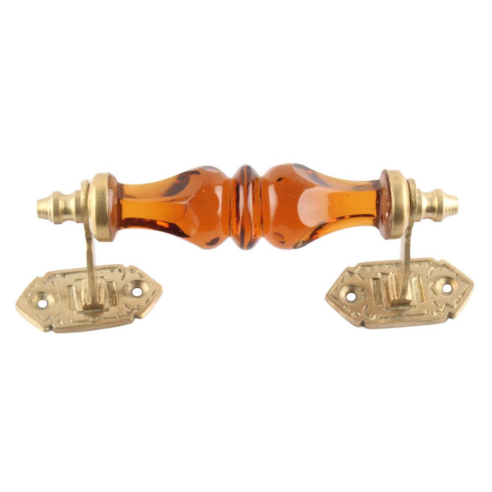 Amber Glass Big Gold Door Handles