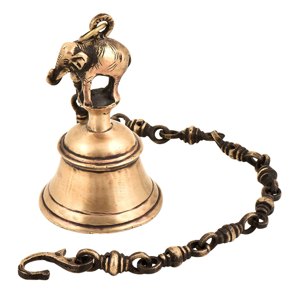 Traditional Brass Temple Bell With Elephant On A Chain