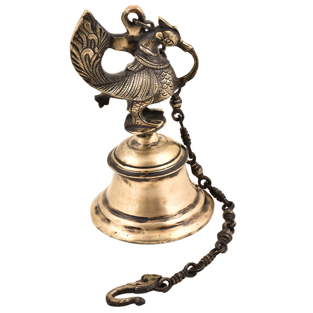 Indian Brass Peacock Temple Hanging Bell With Chain