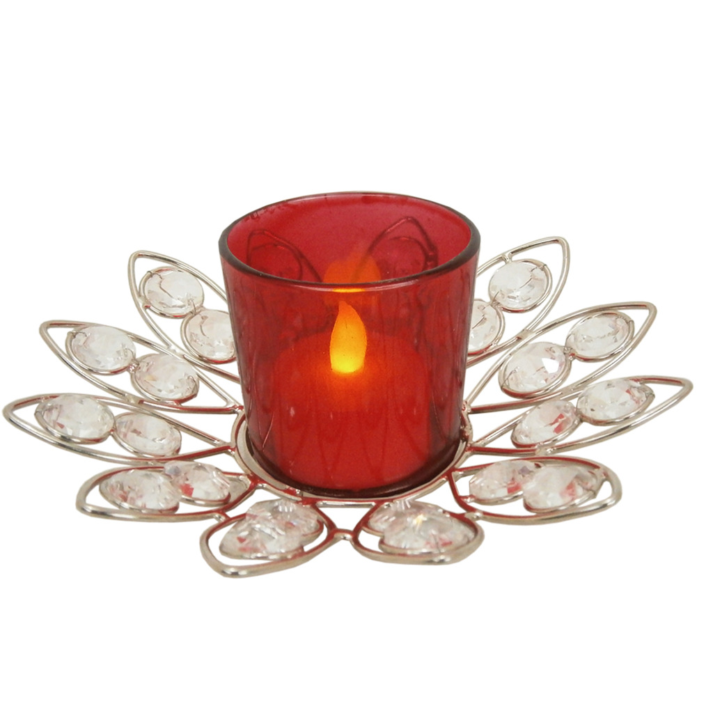 Red Crystal Votive With Stand