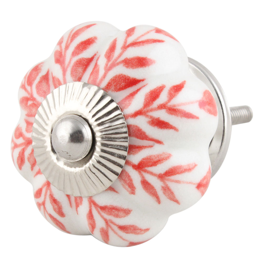 Red Leaf Ceramic Knob