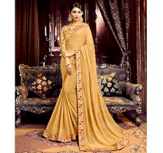 Georgette Solid Ruffle Saree (Chiku) With Heavy Embroidered Blouse