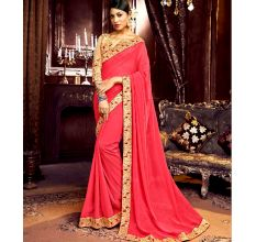 Georgette Solid Ruffle Saree (Pink) With Heavy Embroidered Blouse