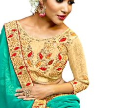 Georgette Solid Ruffle Saree (Turquoise) With Heavy Embroidered Blouse