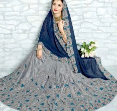 Grey Georgette and Net Saree with Blouse Piece