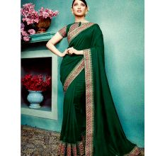 Dark Green Vichitra Silk Saree With Banglori silk Blouse Piece