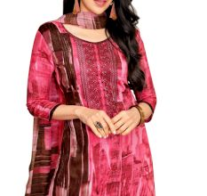 Pink Pure Jam Satin With Self Embroidery With Chiffon Dupatta