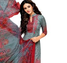 Grey Glaze Cotton Printed Women's Aari Work Salwar Suit