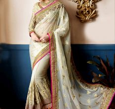 White Embroidered Pure Georgette Saree With Blouse