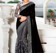 Fancy Indian Georgette & Net Saree (Black)