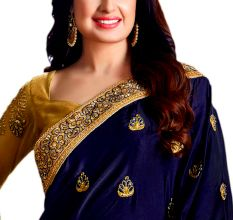 Navy Blue Georgette Embroidered Saree With Blouse Piece