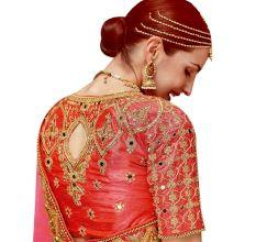 Pink Ethnic Wedding And Party Wear Heavy Handwork Designer Sari