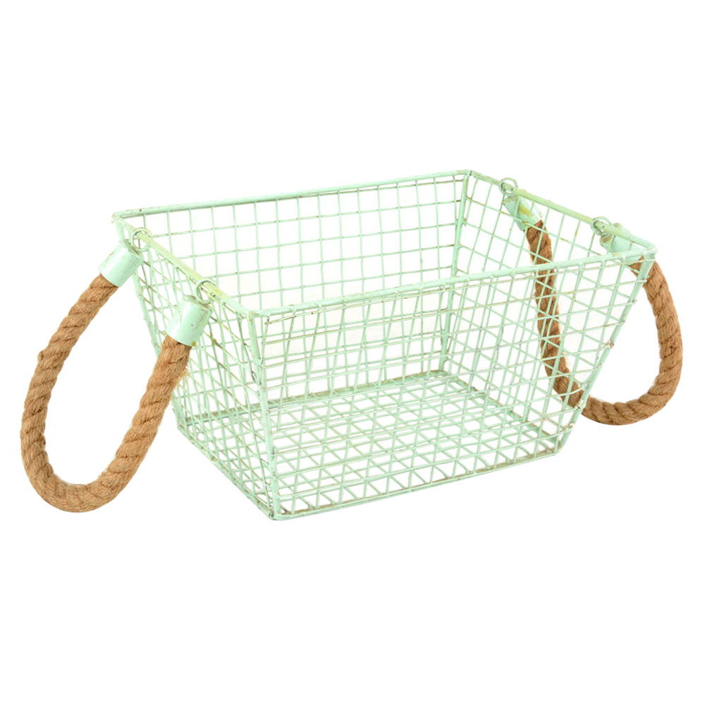 Iron Wire Basket With Roop Handal In Sky Blue