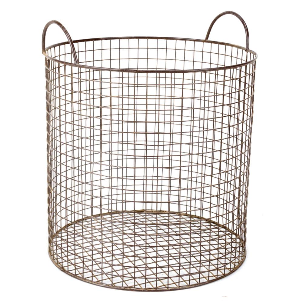 Iron Wire Basket In Grey