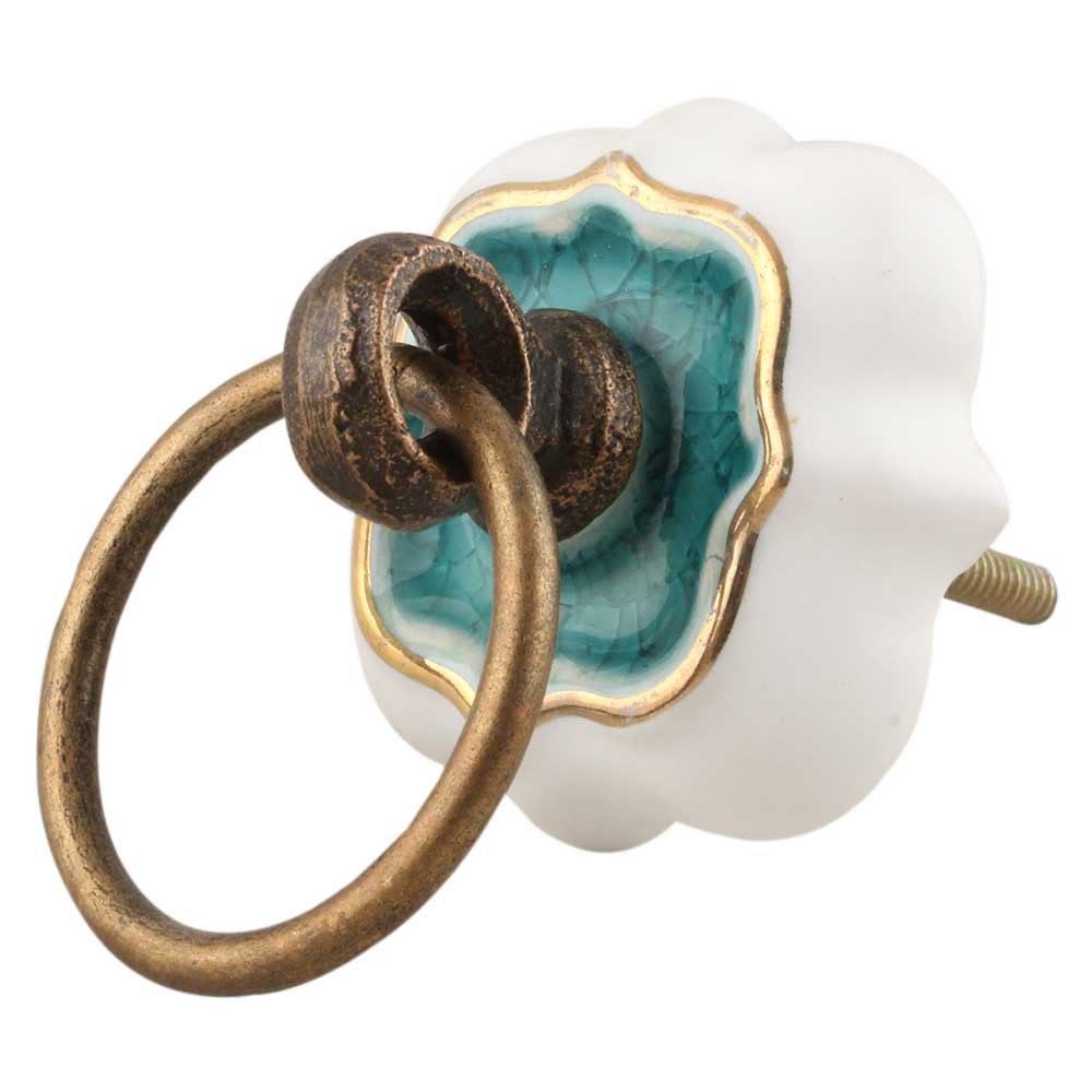 Sea Green Solid Gold Line Ceramic  Dresser Knobs