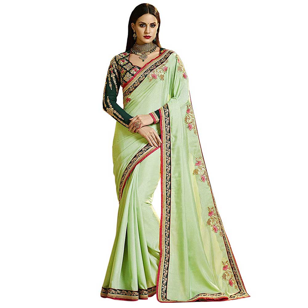 Pista Magic Silk Saree With Contrast Colour Heavy Embroidery Blouse