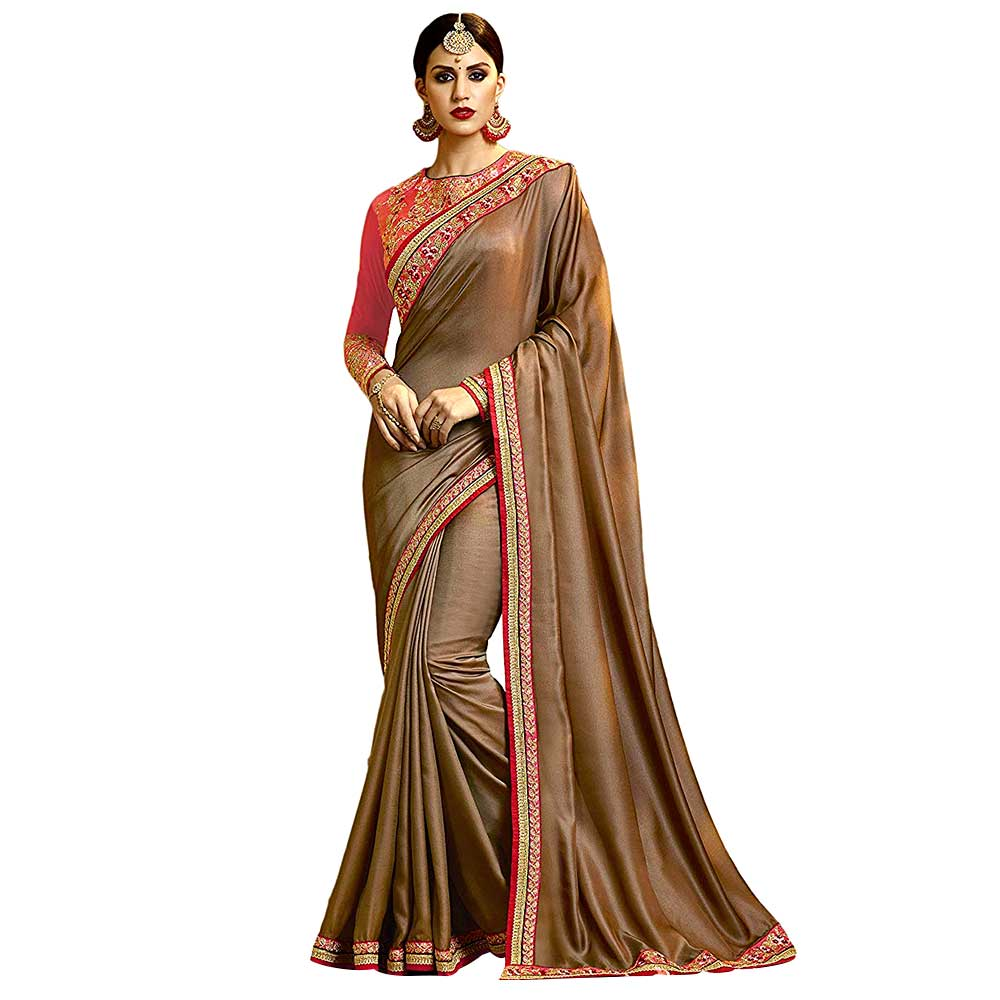 Brown Barfi Chinnon Silk Saree With Contrast Colour Heavy Embroidery Blouse