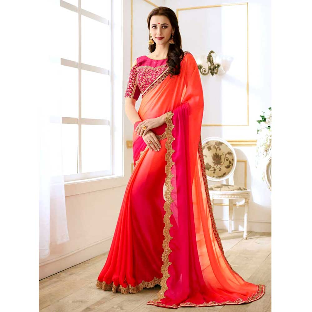 Red Golden Border  Rangoli Silk Saree with Heavy Embroidery Blouse