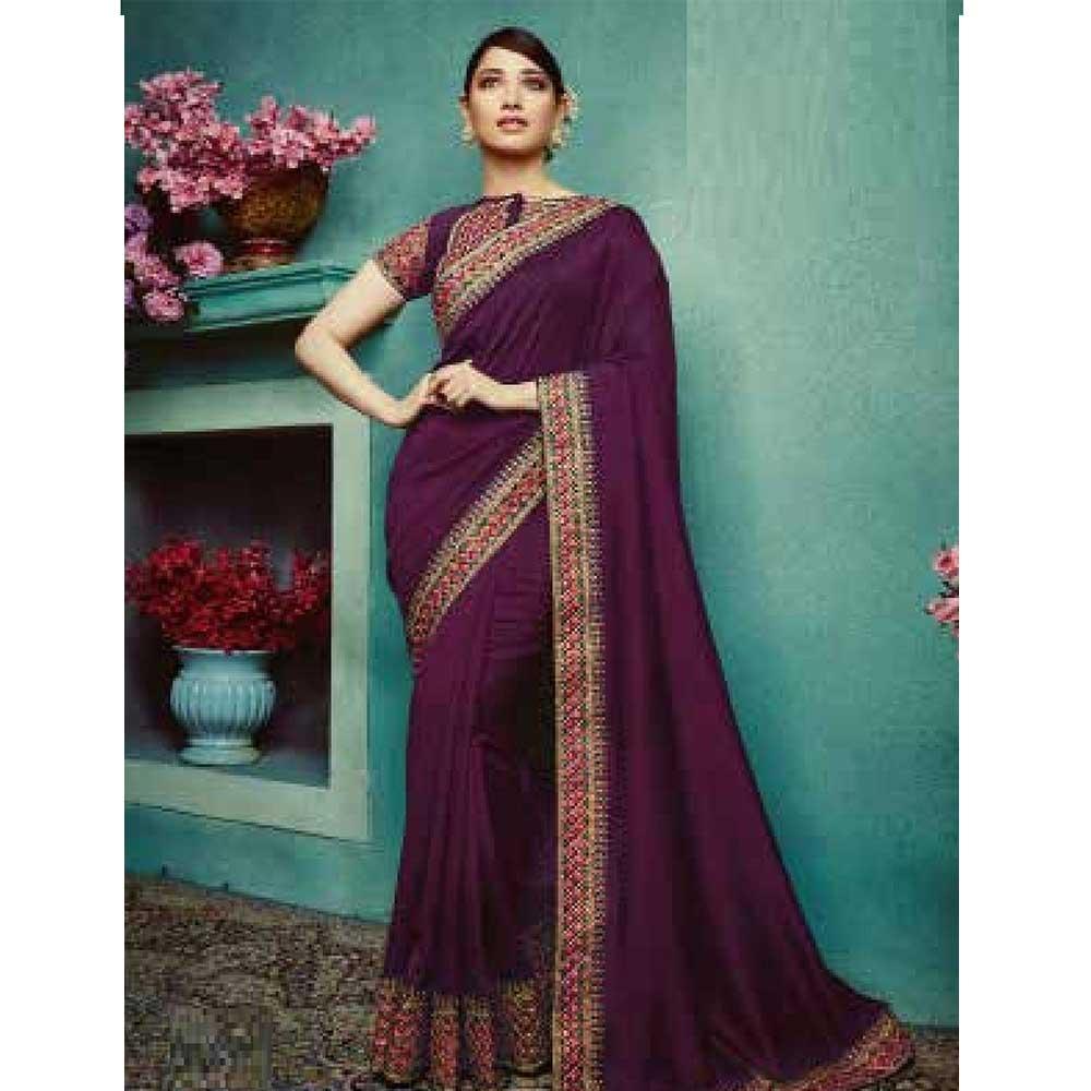 Purple Vichitra Silk Saree With Banglori silk Blouse Piece