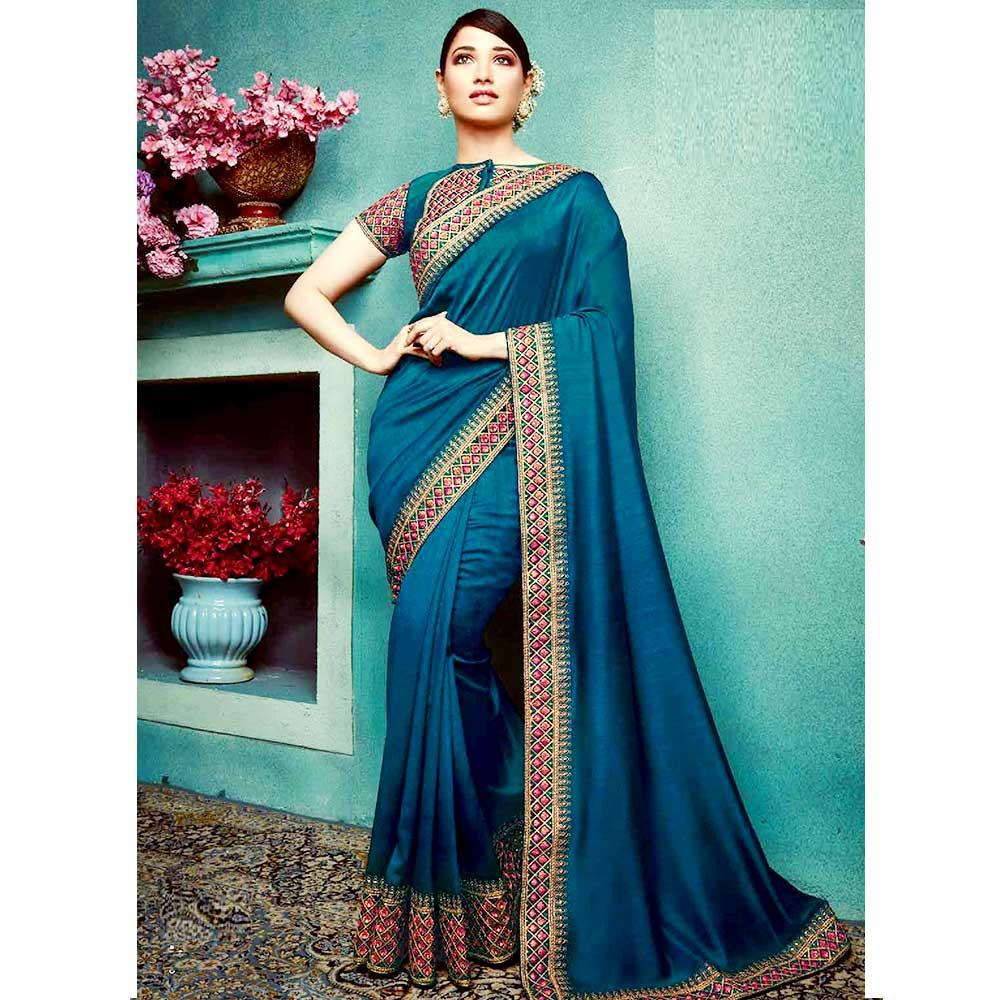 Dark Blue Vichitra Silk Saree With Banglori silk Blouse Piece