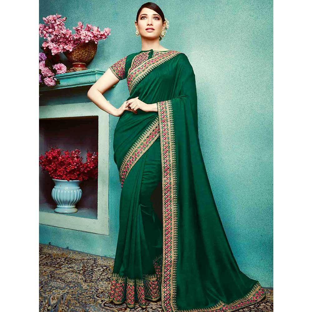 Dark Green Vichitra Silk Saree With Banglori silk Blouse Piece