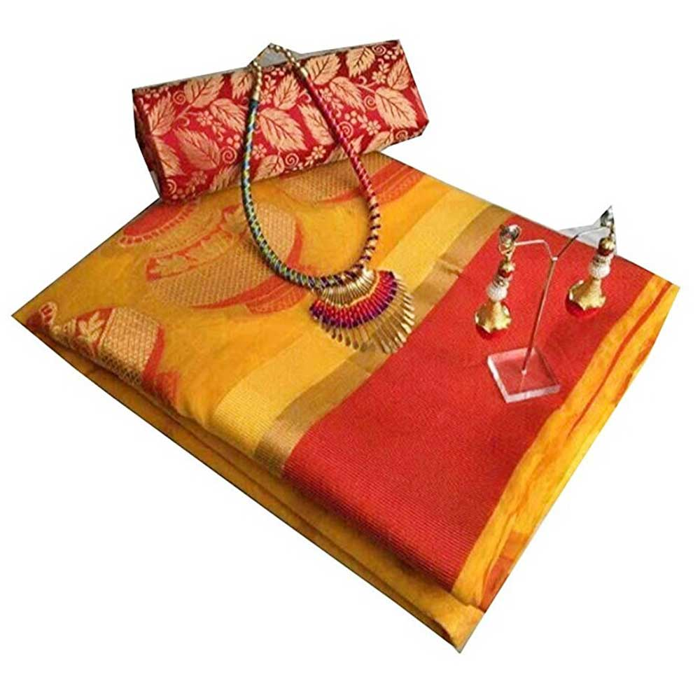 Yellow Cotton Silk Matka Saree