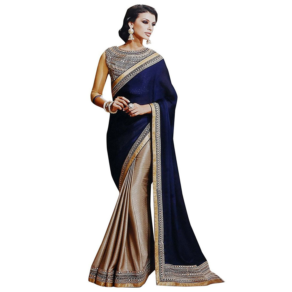Chiffon Silk Saree With Embroidery Work Blouse Piece Blue & Beige
