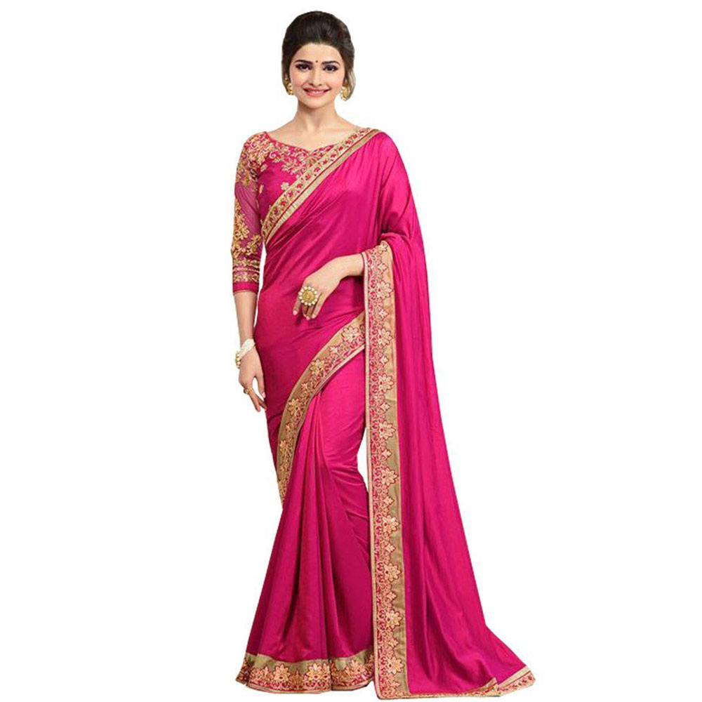 Pink Border Silk Saree With Banglori Silk Blouse
