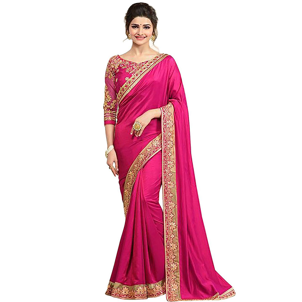 Pink Border Silk Saree With Banglori Silk Blouse