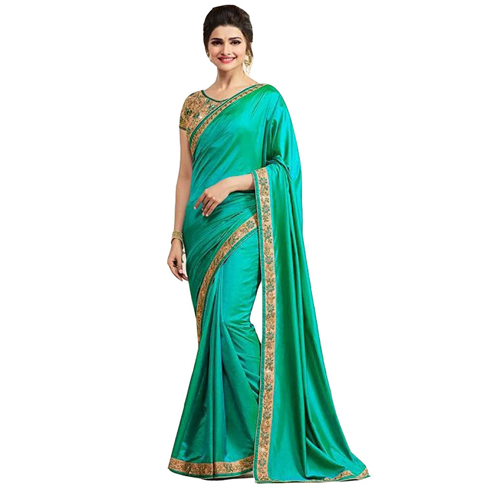 Paper Silk Saree With Blouse Piece Turquoise