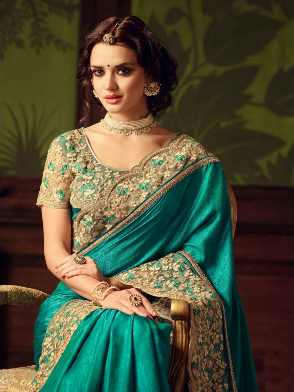 Green Embroidered Border Work Paper Silk Saree with Blouse Piece