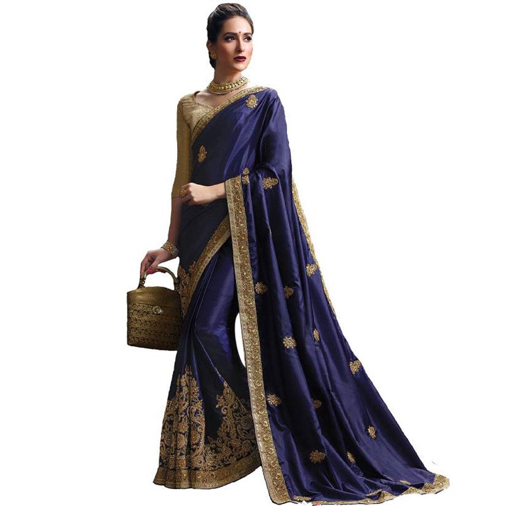 Blue Pandora Silk Saree With Matching Blouse Piece