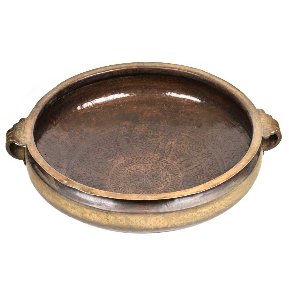 Bronze South Indian Bronze Urli Festival Cooking Vessel With Scroll Handles