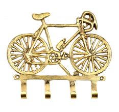 Hand Made Brass Cycle On Four Wall Hooks