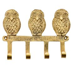 Handmade Brass Wise Owl Wall Hanger With 4 Hooks