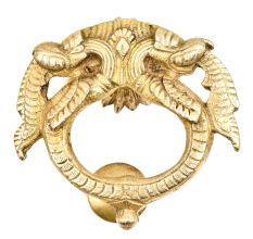 Solid Brass Metal Thunder Dragon With Engraved Knocker For Entrance Door