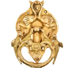 Brass Demon face in Two elephant Trunk And Two Birds Door Knocker
