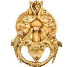 Brass Demon face in Two elephant Trunk And Two Birds Door Knocker