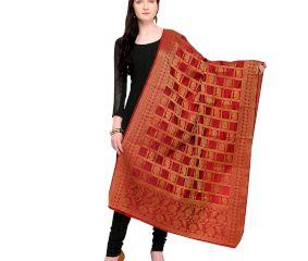 Marron Golden Banarsi Art Silk Dupappa