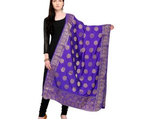 Grape Violet Golden Motif Banarsi Art Silk Dupatta