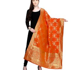 Orange Woven Design Banarsi Silk Dupatta