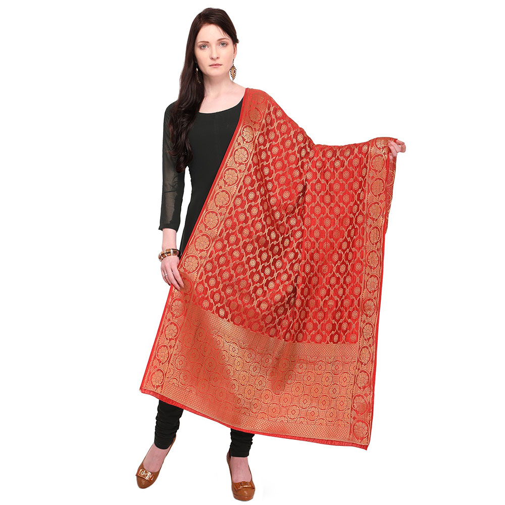 Red Banarasi Art Silk Dupatta