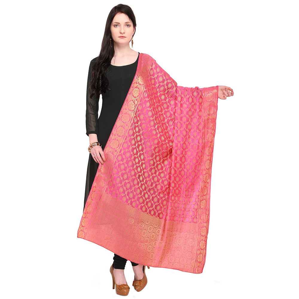 Pink Banarasi Art Silk Dupatta