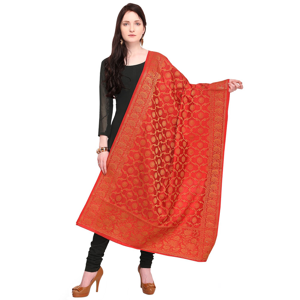 Tomato Red Banarsi Art Silk Dupatta