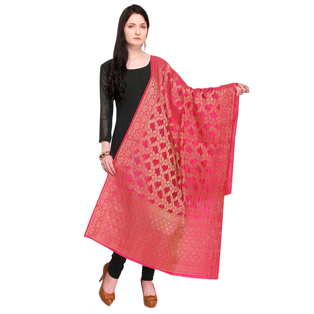 Leafy Pink Banarsi Art Silk Dupatta