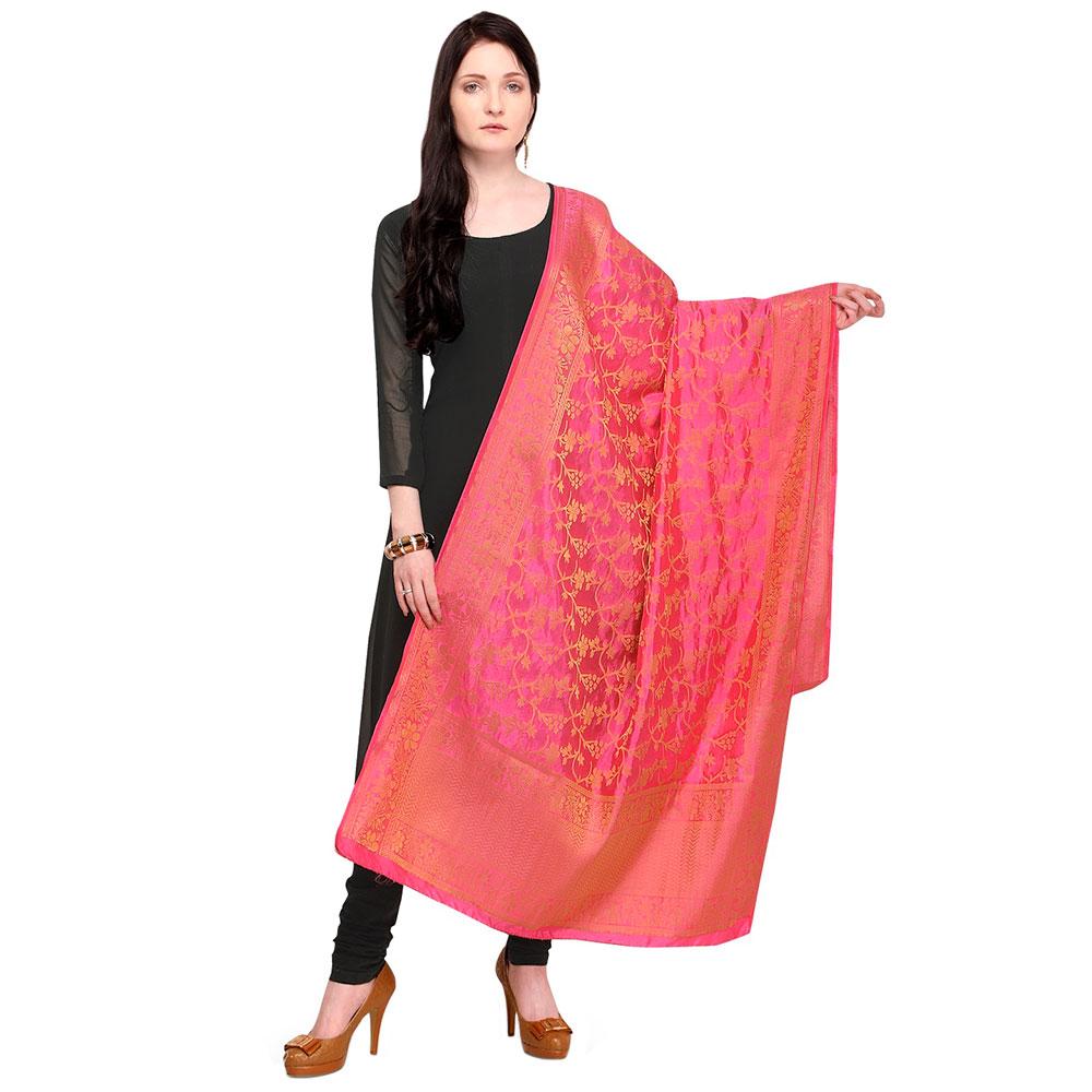 Traditional Pink Banarsi Art Silk Dupatta