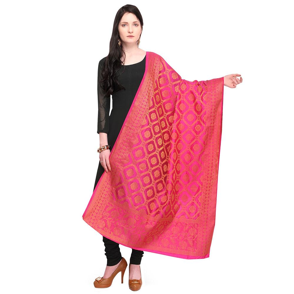 Geometric Pink Banarsi Art Silk Dupatta