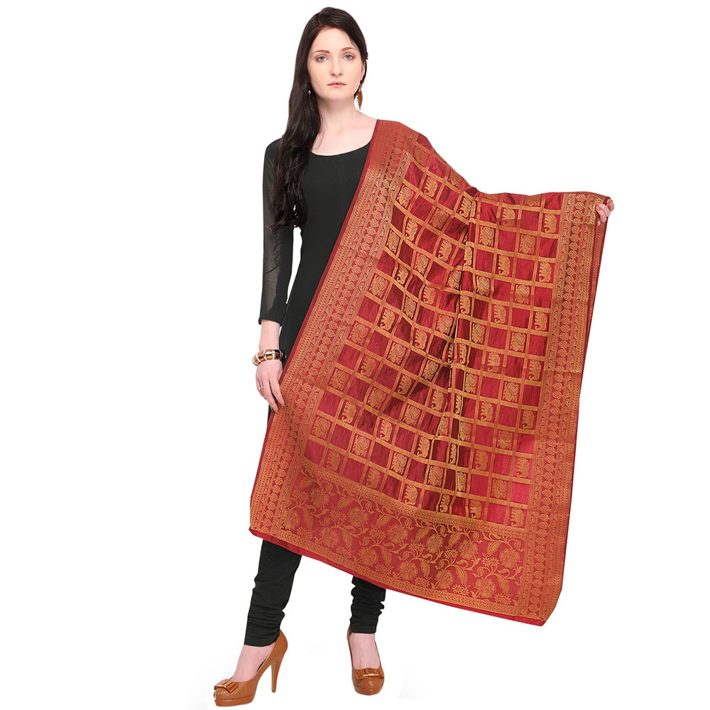 Marron Golden Banarsi Art Silk Dupappa