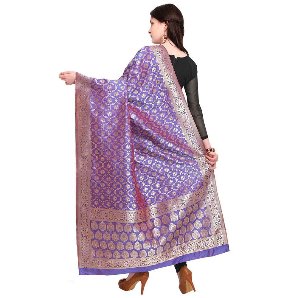 Violet Banarsi Art Silk Dupappa